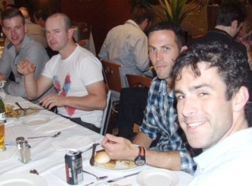Wining and dining: L-R Matt Thomas, Bryce Peter-Budge, Michael Ozbun and Tom King.