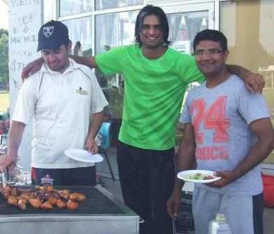 The Christmas party barbecue had a real Pakistani feel, with Valley players (L-R) Murtaza Khaliq, Muhammad Maaz and Saif Ali cooking delicious spiced halal meats on the wood-fired barbecue.