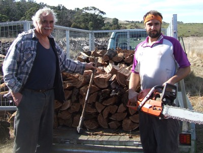 Father and son team Charlie and Murray Walker - bringing firewood to you in Melbourne from the bush near Lancefield.