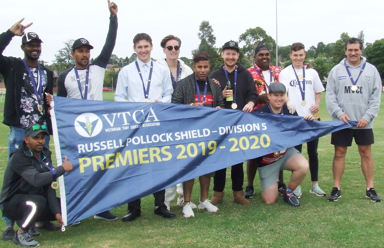 Moonee Valley celebrates on our home pitch after being officially declared the 2019/20 Premier. L-R Sameera Vithana (front), Nadeera Thuppahi, Shiwantha Kumara, Jack Newman, Anthony Cafari, Sumit Anand, Bede Gannon, Channa DeSilva, Sam Walker (front), Daniel Comande and coach Tony Gleeson.