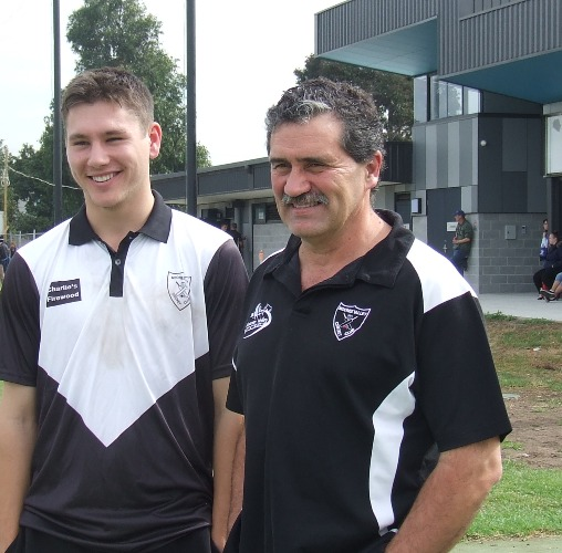 Moonee Valley's newly-appointed senior coach, Tony Gleeson (right) with Firsts captain Jack Newman.