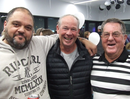 "Three proud Life Members who remember back to the days of the old ""Dungeon"" pavilion in the 1980s - two pavilions removed from now. L-R Sandro Capocchi, Greg Peters and Club founder Ray Storey."