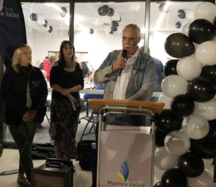 President Charlie Walker, who represented the cricket club in the design and development of our new pavilion, tells the crowd what it means to us all. He's watched by Cr Samantha Byrne (left) and Mayor Narelle Sharpe.