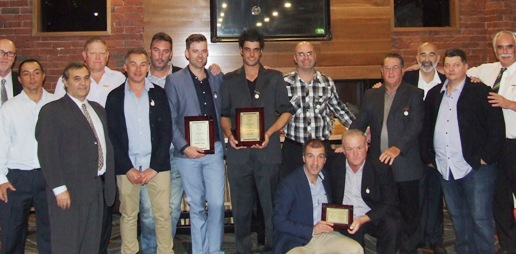 The Life Members gather to welcome the new inductees. From left; Kevin Gardiner, Danny Terzini, Bob Sciacchitano, Darren Nagle, Dean Jukic, Jim McKenzie, Matt Thomas, Jesse Felle, Michael Cumbo, Ray Storey, Joe Ansaldo, Mark Gauci, Charlie Walker. Front - Jim Polonidis, Sean O'Kane.
