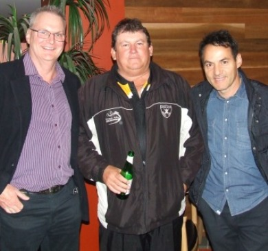 Celebrating the night: L-R Doug Cumming (50 games), Shane McDonald (50 games) and Sam Carbone (2000 runs).