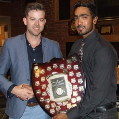 Both two-time winners of this award: Matt Thomas (left) with 2017/18 Club Champion Chanaka Silva.