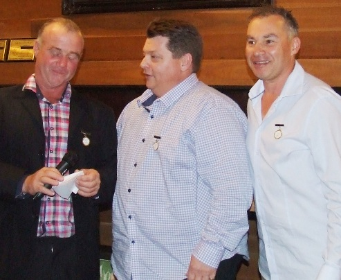 Three great mates together: L-R Sean O'Kane, Mark Gauci and Dean Jukic are honored.