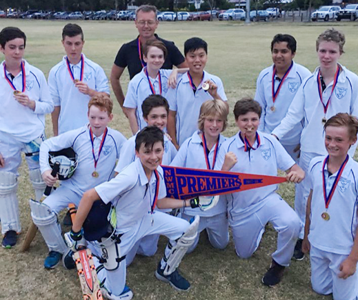 Coach Peter Pickering stands proudly with our Premiership players: L-R: Back - Luca McMonagle, Thomas Kruspe, Thomas King, Nam Nguyen, Pranav Matha, Riley Walsh. Middle - Thomas Nightingale, Dejan Gilevski, Thomas Barnett, Harry Pickering. Front - Jesse Maljanek-Smith, Jakob Haskell.