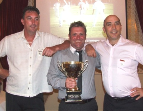 Holding the Premiership Cup from their 1998/99 Thirds flag triumph: L-R captain Jim McKenzie, James Holt and John Talone.