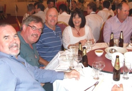 "An early pioneer and some life members; L-R Brian O'Reilly, Ian ""Sudsy"" Sutherland, Warwick Nolan with partner Heather Brooke, and Ian Denny."