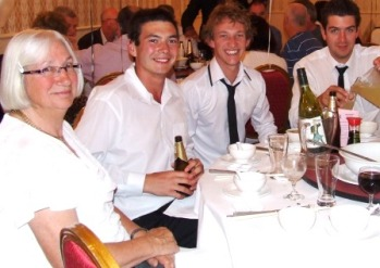 The younger set: L-R Margaret Deakes with her grandson James Thorneycroft, and with Joshua Maginness and Stephen Tassos.