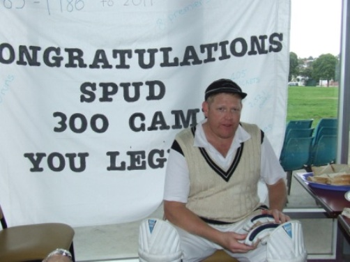 He really is a legend: Spud with his banner.